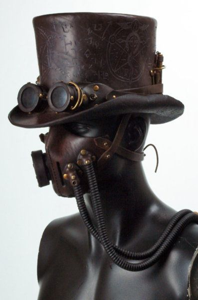 #Steampunk hat and mask. A must-have, unless the hoses connect to my armpits.