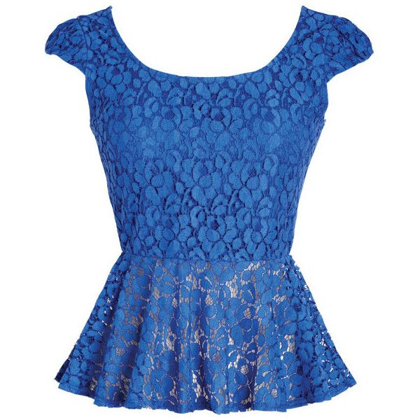 Lace Peplum Top ($35) ❤ liked on Polyvore