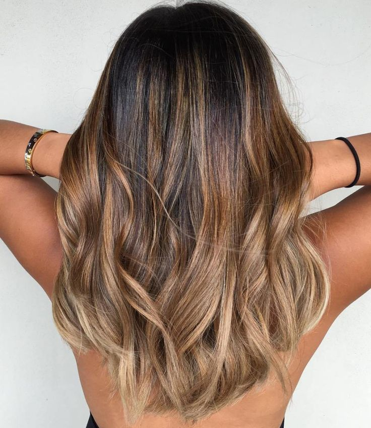 Caramel and ash blond balayage for brown hair