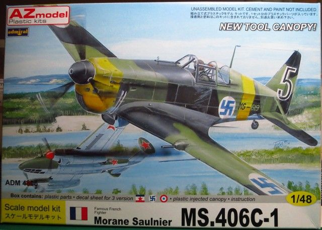 Morane Saulnier MS.406C-1. Admiral, 1/48, rebox 2013 (ex Admiral 2013 No.4805, updated / new parts), No.4806. Price: Not Sold.