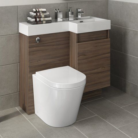 906mm Olympia Walnut Effect Door Vanity Unit - Lyon Pan [PT-MV2781] - £379.99 : Platinum Taps & Bathrooms