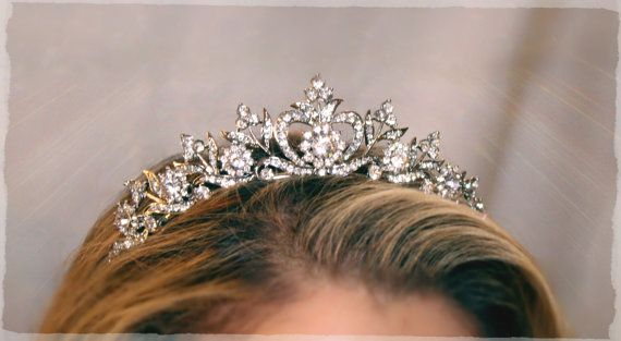 Bridal Tiara Crystal Heart Tiara - DIANA, Swarovski Bridal Tiara, Crystal Wedding Crown, Rhinestone Tiara, Wedding Tiara, Diamante Crown on Etsy, $88.00