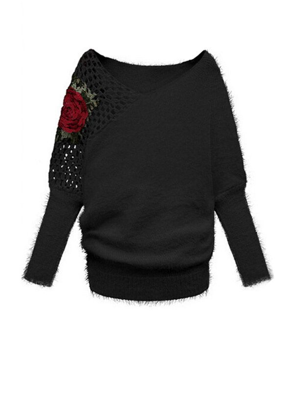 Fresh Flower Hollow Out V-Neck Long Sleeve Knit Sweater