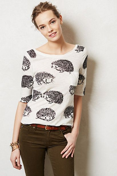 Creature Feature Top | Anthropologie $48, total of 6 different patterns/colours - including birds!  Review: http://effortlessanthropologie.blogspot.ca/2013/10/reviews-crisscross-jersey-top-smocked.html
