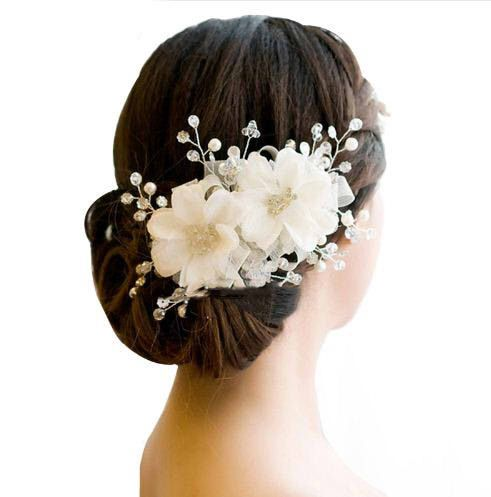 Bridal Flower Chiffon and Lace Hair Ornaments Headdress for Bride