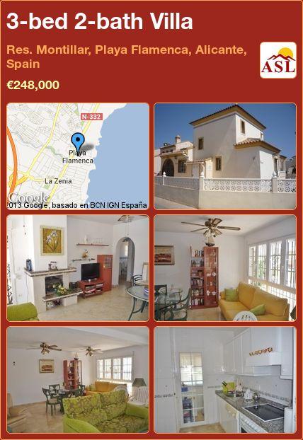 3-bed 2-bath Villa in Res. Montillar, Playa Flamenca, Alicante, Spain ►€248,000 #PropertyForSaleInSpain
