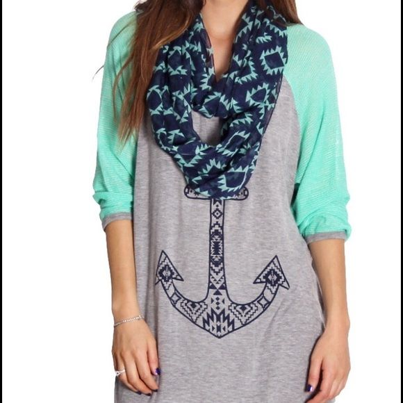 Gray & Mint Anchor Scarfed Top Plus Size Gray & Mint Anchor Scarfed Top.     Plus mint and gray tribal printed sheer blouse WITH an attached scarf.  95% polyester 5% spandex. Tops Blouses
