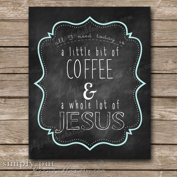 Coffee and Jesus Wall Decor | Kitchen Wall Art | Chalkboard Print | Coffee Chalkboard Print | Digital File, Printable, Instant Download