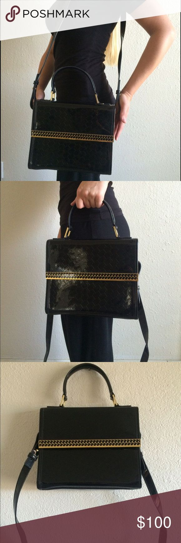 Patent Leather Black Ted Baker Purse This retro Ted Baker purse comes with a detachable shoulder strap. Ted Baker's signature T is patterned on the entire purse. Although purse does not have tags, it has never been used. Small to medium sized. Ted Baker Bags Crossbody Bags