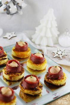 Noël ~ Christmas : Bouchées Apéritives - Brioche perdue au Piment d'Espelette, Confiture de Coings, Rose de Magret de Canard au Foie Gras - Une Graine d'Idée