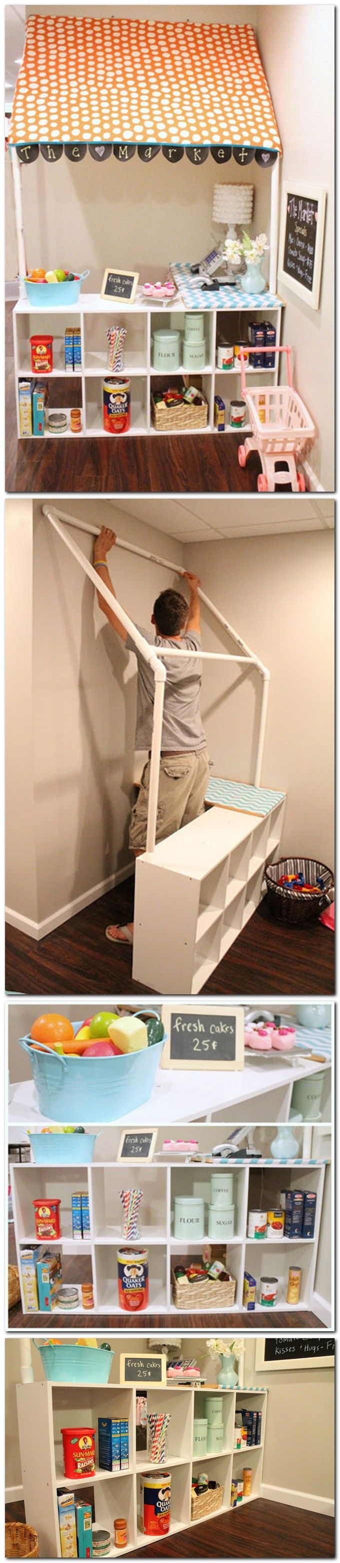 DIY children's grocery store--such a fun idea for a basement or playroom