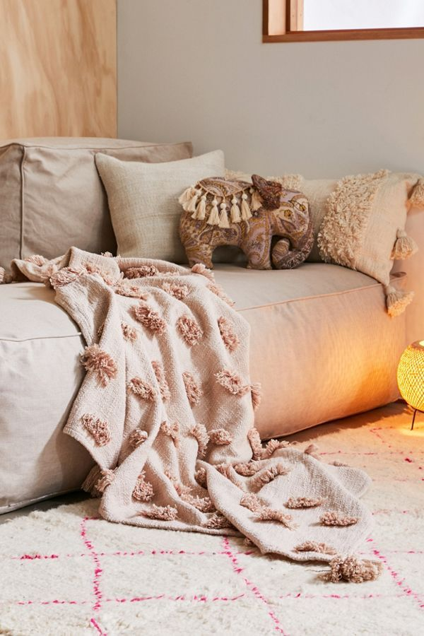 Tabby Tufted Throw Blanket Contemporary Bed Linen Bed Throws Boho Throw Blanket
