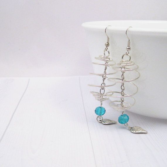 Earrings - Silver Cage Dangle Earrings with Leaf Charm and Blue Swarovski Bead Detail hanging from a Silver Chain. OOAK Australian Shops