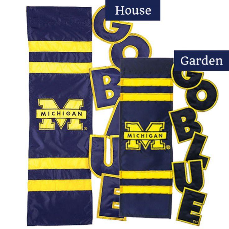 Michigan Wolverine Sculpted Appliqued Flags Set (2 Pieces)
