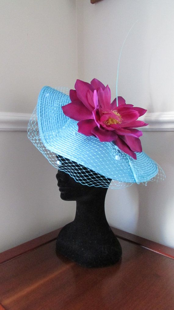 Turquoise Blue Ascot Racing Hat Aqua by HatCoutureDesigns on Etsy