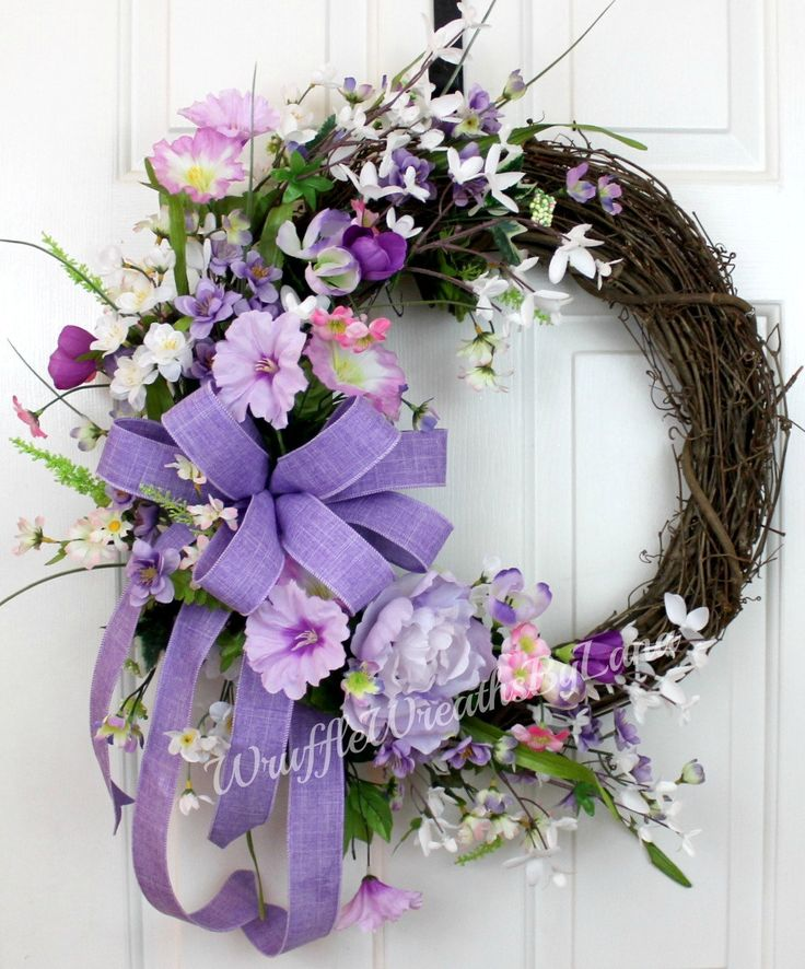 Spring Lavender Grapevine Wreath, Spring Grapevine Wreath, Easter Grapevine Wreath, Grapevine Wreath, Front Door Wreath, Mother's Day Wreath by WruffleWreathsbyLana on Etsy