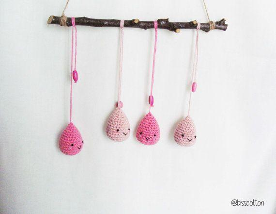 Pioggia felice, giostrina culla, decorazione parete, rosa, regalo neonato, happyraindrops, baby shower, cameretta bambini, regalo bambina