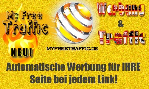 Mehr Werbung und Traffic durch das neue Tool vonDocGoy: http://MyFreeTraffic.de