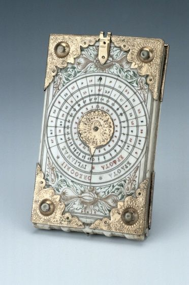 """themagicfarawayttree: Diptych Dial, by Thomas Tucher, Nuremberg, c. 1620. """"Diptych dials are portable instruments, usually made from ivory. They were mainly produced in Nuremberg from the late fifteenth century onwards. They are based on the principles of vertical and horizontal sundials."""""""
