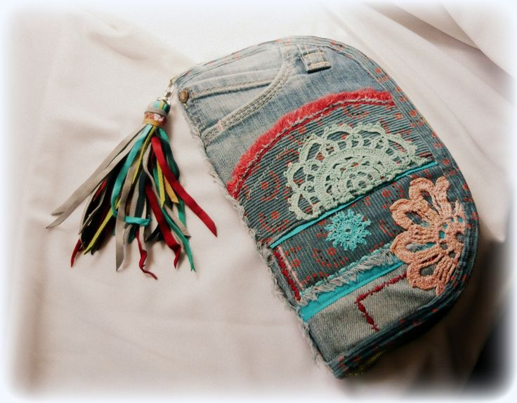 Handmade by Judy Majoros - Denim fringe crochet wallet-clutch with multicolour leather fringe. Recycled wallet-bag.