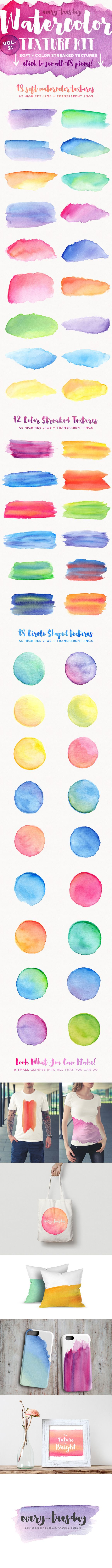 Watercolor Texture Kit Vol. 2 is up! Soft + Color Streaked textures: http://every-tuesday.com/watercolor-2