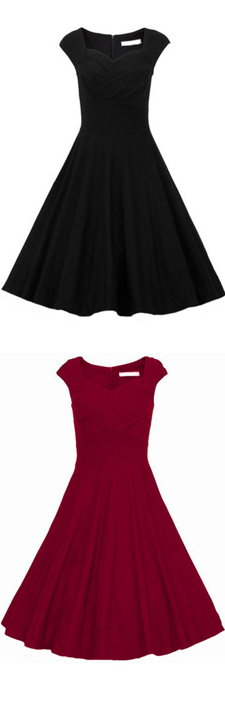 Classic vintage plain black a line dress at romwe.com.So beautiful dress for…