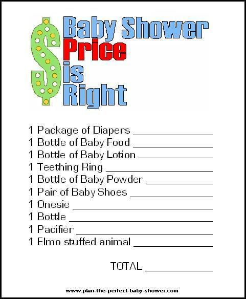 Baby Shower: Price is Right game talula79