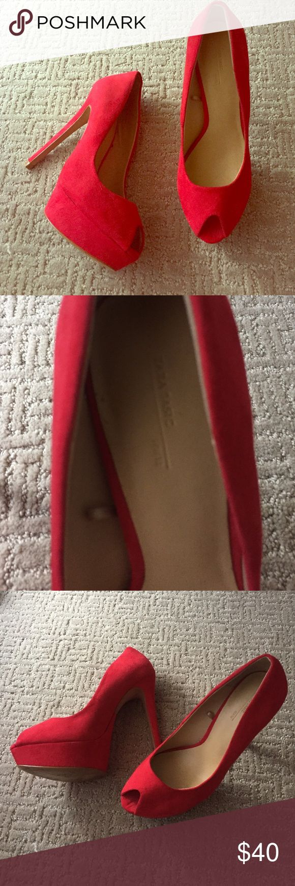 Red Zara Heels Bright red Zara Heels! Bottoms show some wear but the rest of the shoe is in perfect condition. Perfect for a night out! Zara Shoes Heels