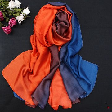 Women Satin Silk Gradient Colors Scarf Soft Long Beach Sunshade Towel Shawl at Banggood