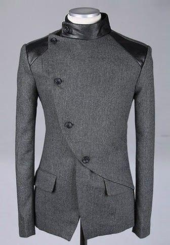 Men Fashion British Style Long Sleeve Slant Buttons Design Grey Polyamide Coat M/L/XL@S0-6381-1g