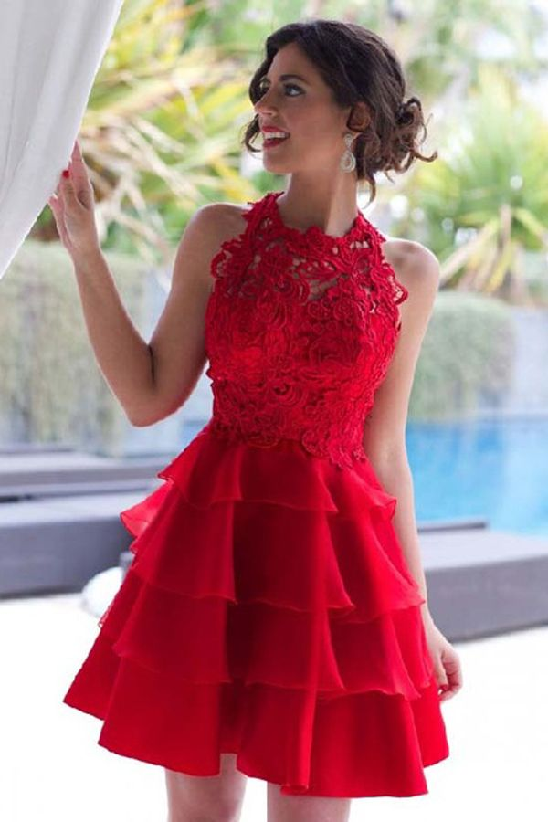 Dramatic Halter A-line Short Red Lace Homecoming Dress
