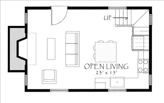 Samuel whitlock cottage 1st floor large open space with for Man cave floor plans