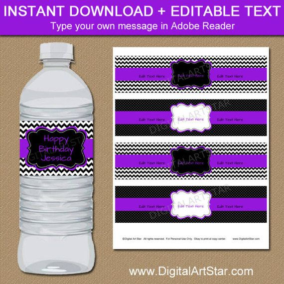 Best Birthday Party Decor Images On   Water Bottle