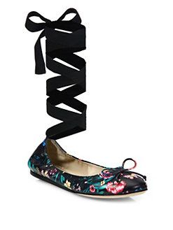 Saks Fifth Avenue Collection - Floral-Print Leather Ankle-Wrap Ballet Flats