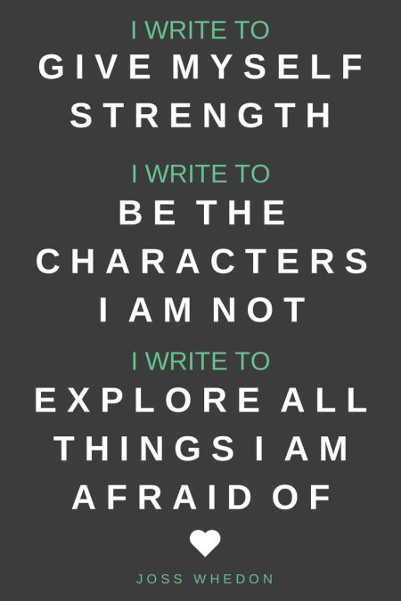 """I write to give myself strength. I write to be the characters that I am not. I write to explore all the things I'm afraid of."" - Joss Whedon"