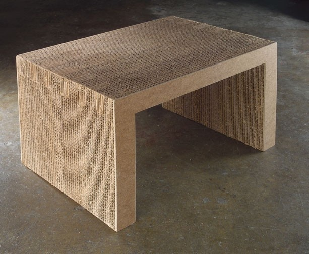 Corregated cardboard bed tray; durable and lightweight.