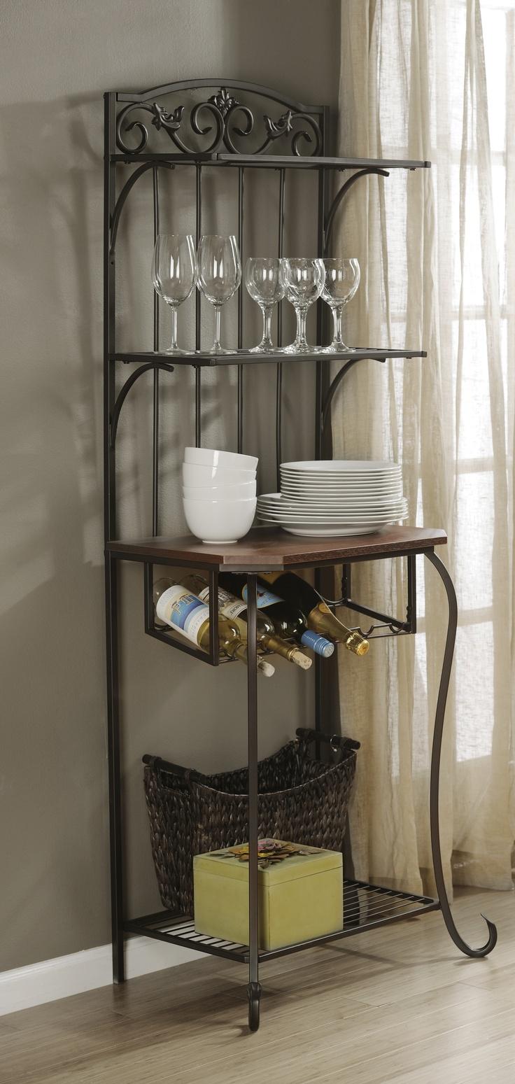 Wrought iron shelves bathroom - Add Some Storage And Some Wine Kirklands Creativekitchen