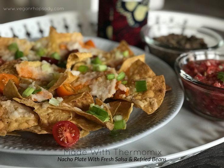 Nacho Plate with Fresh Salsa & Refried Beans