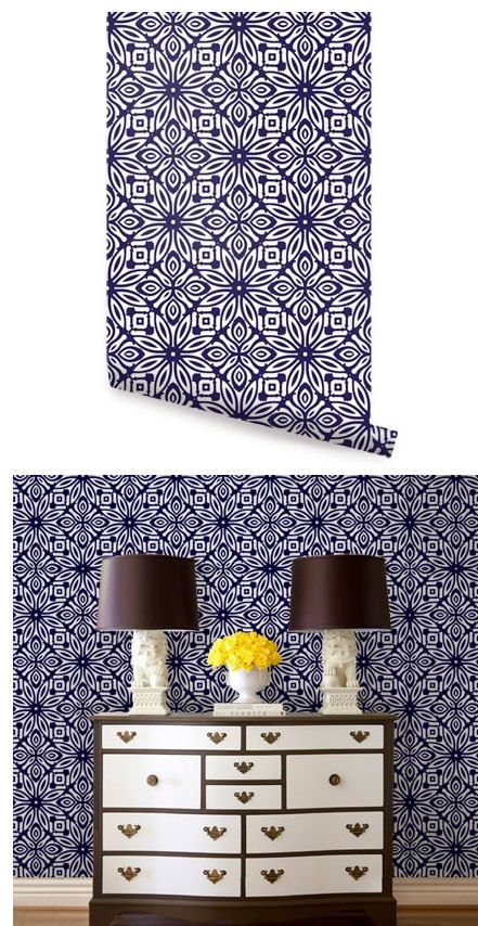 Geo Flowers Navy Peel And Stick Wallpaper   Wall Sticker Outlet