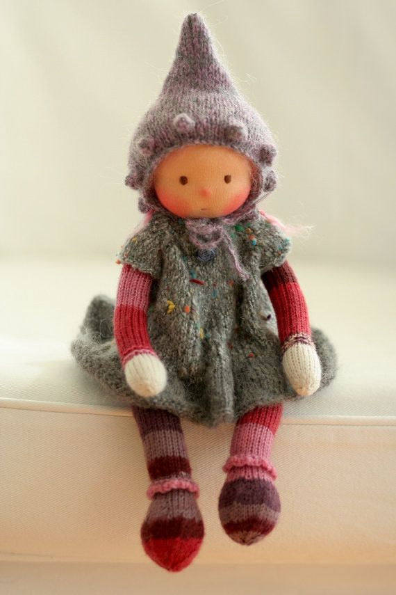 Waldorf knitted doll Joan 13 by Peperuda dolls by danielapetrova