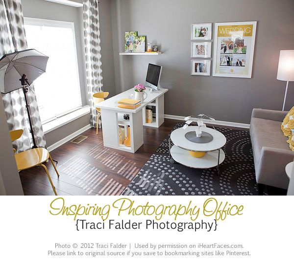 Love this gray with pops of yellow in this studio! :: How to Set Up A Photography Office in Your Home | Tracie Falder Photography for I Heart Faces