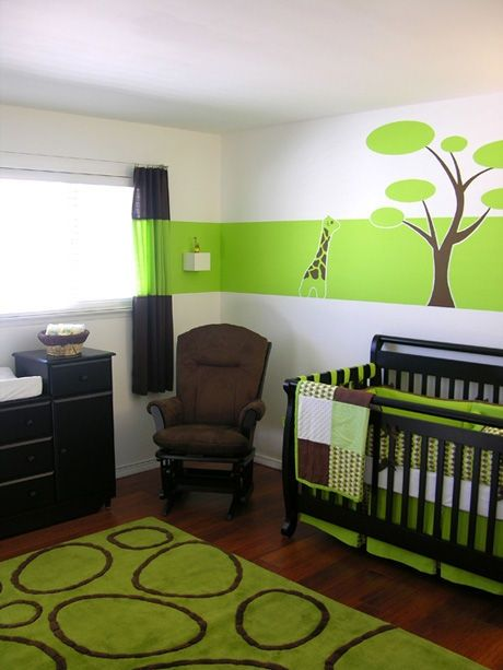 Green and brown. Cute for a boy's room
