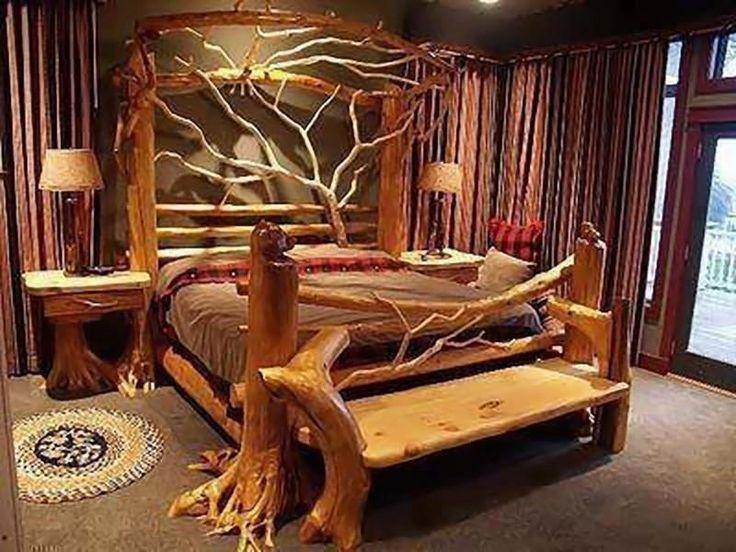Bedroom furniture made from driftwoodRustic Bedrooms, Dreams Beds, Nature Materials, Trees Branches, Sweets Dreams, Beds Frames, Bedrooms Furniture, Nature Home, Logs Cabin