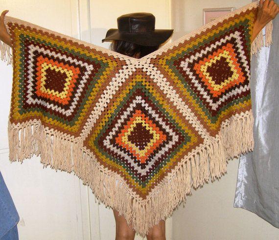 Crochet hand knit poncho cape shawl top multi by THEHIPPIEGYPSYVTG, $99.00