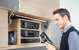 AVENTOS HL: Front lifts up parallel to cabinet DOOR FOR TV CABINET