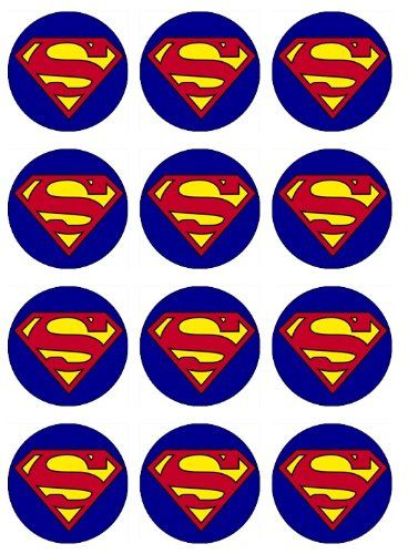 SUPERMAN Cupcake Toppers Edible Image for Birthday Party! Edible cupcake toppers