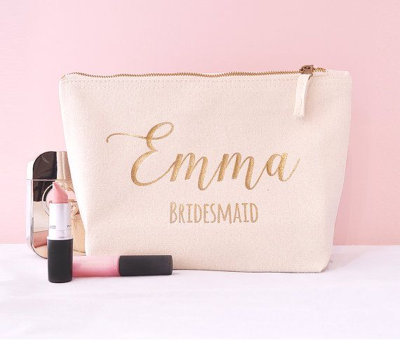 This beautiful brushed cotton canvas ivory make up bag is made to order with unique personalisation, to make the perfect Bridesmaid gift!  Each