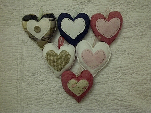 Cushion hearts that you can hang you somewhere
