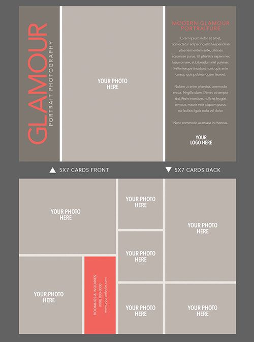5x7 doublesided glamour card template for by for Adobe photoshop business card template