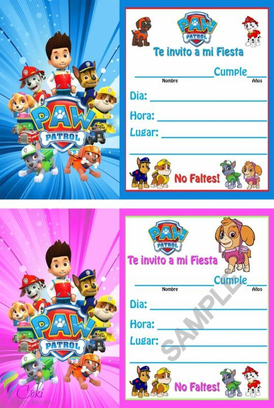 Invitaciones Paw Patrol Espanol Nino y Nina(12) / Birthday Party Invitations